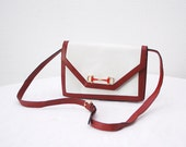 80s CELINE bag. envelope bag. red white leather shoulder bag. designer bag