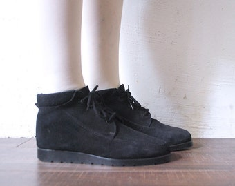 80s 90s navy suede boots. suede ankle boots. flat sole boots - eur 39, uk 6, uk 8.5