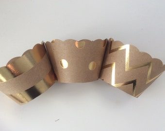 Kraft Cupcake Wrappers Gold & Silver Foil SALE Metallic Weddings Showers Celebrations