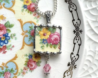Broken China Jewelry pendant necklace antique pink and yellow roses with crystal drop