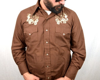 Vintage Chute Embroidered Western Pearl Snap Shirt