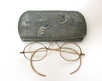 Rare Antique Childs Optical 1890s - 1910s Eyeglasses With Cat Nursery Rhyme Case // Gold Filled by Imperial Optical // Victorian Glasses