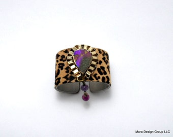 """leather cuff bracelet  -cheetah hair on hide with druzy- 1.5"""" wide"""