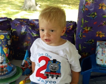 Boys Birthday Train Shirt,Thomas The Train Birthday Shirt,Baby Boys Thomas Train Birthday Shirt,Choo Choo Look Who's 2 Birthday Shirt