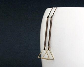 Triangle Earrings, Brass Bar Earrings, Geometric Jewelry, Lightweight Earrings, Modern Jewelry