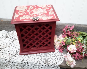 FRENCH Wine Jewelry Box with Provence Decoupage Papers Downton Abbey Inspired