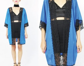 80s Vintage Lingerie Robe Black Lace Kimono Royal Blue Dressing Gown Bed Jacket Draped Cardigan Open Front Short Sleeve Duster Jacket (S/M)