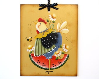 Chicken with Watermelon and Daisies Sign, Handpainted Wood, Hand Painted Home Decor, Wall Art, Tole Decorative Painting, B4