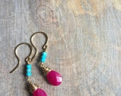 Turquoise and Pink Jade Drop Earrings, Turquoise Dangle Earrings, Fuschia Jade Briolette Earrings, Gold Wire Wrapped Earrings