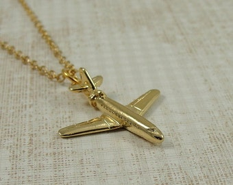 Airplane Necklace, Gold Plated Airplane Charm on a Gold Cable Chain