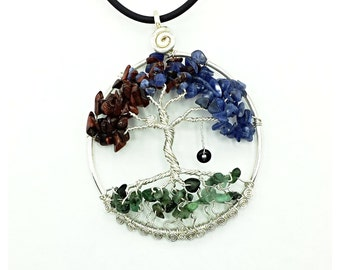 Birthstone Tree | Family Tree Pendant |  Tree of Life Pendant |  Gemstone Tree | Swing Pendant | Birthstone Jewelry | Silver Tree | Branches
