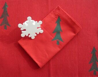 Red and Green Christmas Tree Napkins - Set of 4