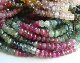 Half Strand, 4-5x2-3 mm, Sparkling Beautiful Tourmaline Organic Cut Faceted Rondelle, Sale, 25%,a18