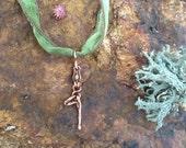Valentine sale, Yoga  - Little Yogi in Tree Pose - Peridot,  silk and copper - people -  puppet- vriksha-asana - heart chakra