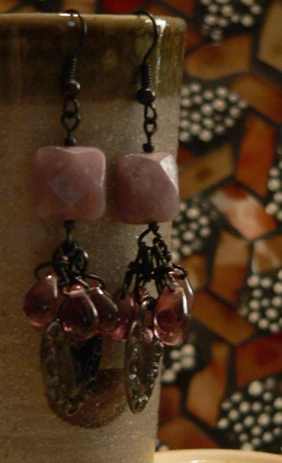 Purple earring, Dangle earrings, lepidolite earring, black metal, lock charm, purple and black, boho earring, lilac earring
