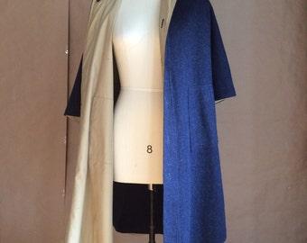 SALE! 1970's vintage wool cape / navy blue wool /  reversible cape / poncho / fall autumn outerwear / boho bohemian / retro chic