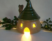 ToadHouse/ Fairy House/ Night Light with a Curly Green Roof and a Chimney -- Hand Made on the  Potters Wheel