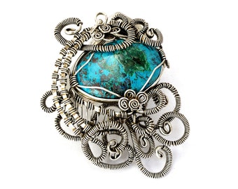 Steampunk Pendant, Wire Wrapped Pendant, Silver Stone Pendant, Chrysocolla Pendant, Gemstone Pendant, Necklace Pendant, Wire Necklace