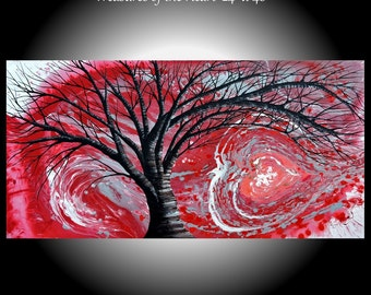 """Large Abstract Painting 24"""" x 48"""" Tree 'Treasures of the Heart' Original Modern Art Landscape Huge Red Sky Gray Silver Abstract Love Heart"""