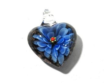 Lampwork HEART Flower Pendant VINTAGE Glass Pendant Heart Pendant Dark Blue Flower Vintage Jewelry Supplies Lampwork Glass (T31)