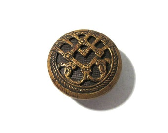 """Victorian Brass BUTTON One (1) Gorgeous Pierced Open Work Filigree 5/8"""" Two Piece Button Vintage Antique Jewelry Sewing Supplies (D50)"""