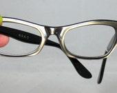Vintage 50s - 60s Eyeglasses Bronze Mink on Black Cat Eyes