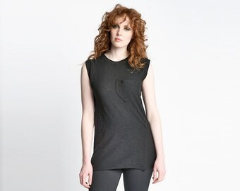 Black Muscle Tee | Sleeveless Tank Top | Cotton Loose Drapey Tunic | Simple Minimalist Fashion