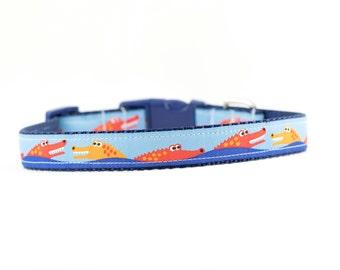"Smiling Alligator Dog Collar, Gator Dog Collar, Alligator Collar, Boy Dog Collar, 3/4"" or 1"" Wide, Buckle Collar or Martingale Collar"