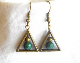 Triangle Earrings Green Earrings Bronzed Earrings Mountain Jade Earrings Surgical Steel Earrings Option