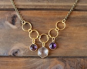 Triple Amethyst Clear Quartz Charm Mixed Metal Necklace/ Gold Brass Chain Jumpring Necklace/ Hexagon Round Charm Layering Necklace/ (NMG11)
