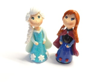 Cold Porcelain Clay Princess Anna & Elsa Figurines Set, Anna and Elsa Cake Toppers, Cupcake Topper, Princess Anna and Elsa Ornaments, Gift