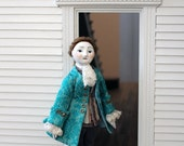 Colonial Era Gentleman, Queen Anne Style Wooden Dollhouse Doll