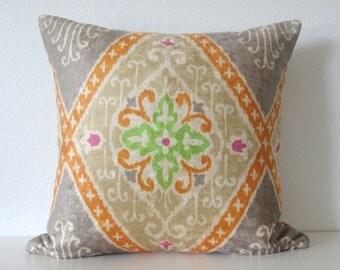IMAN Ikat Diamond Nectar velvet bright ikat medallion designer pillow cover