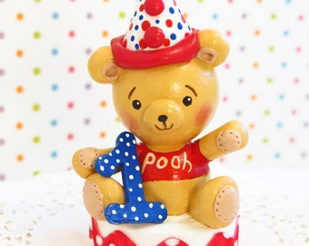 Available~ Winnie the Pooh  Bear Birthday Cake Topper Decoration  Party Smash Baby Shower Handmade One Kids Boho Decoration Children Cute