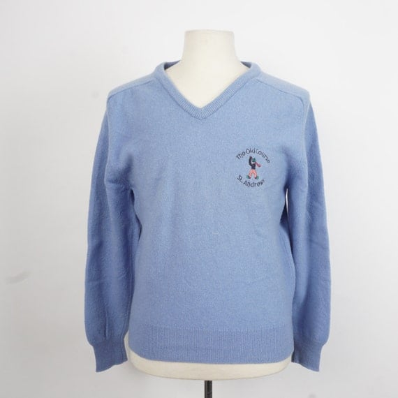 St Andrews powder blue wool golf sweater 70s 80s vintage Clan