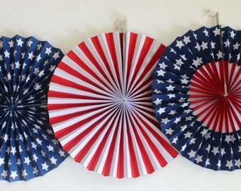 Sale Set 3 RED WHITE & BLUE Paper Fans Pinwheels 4th Fourth of July Striped Dot  Flag Party Stars Stripes Usa America Independence Labor Day