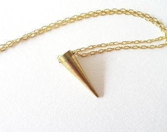 Long Spike Gold Necklace | Brass Spike and Gold Filled Necklace
