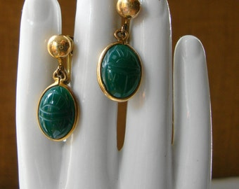 ANTIQUE Jade 12K Gold Filled Carved Jade Scarab Earrings 12K Gold Filled Emerald Green Scarab Drop Earrings Lucky Scarab Deep Green Jade
