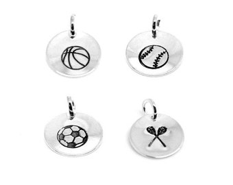 Basketball Baseball Softball Soccer Lacrosse LAX Charm Hand Stamped Charm Personalized Silver Round: Sports