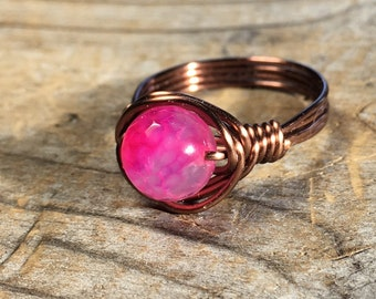 Rose Agate Gemstone Ring - size 7.5 , 7 1/2 faceted hot pink stone antique copper wire wrap wrapped - women bohemian metaphysical