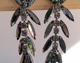 Delizza and Elster faux Hematite Earrings with Gray Rhinestones -Juliana