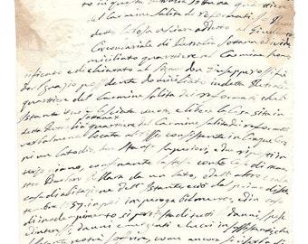 1857 Italian antique handwritten DEED - 1800's document from Italy