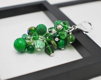 Green Purse Charm, Beaded Purse Charm, Glass Purse Charm, Gift For Her, Bag Charm, Handbag Charm, Beaded Bag Charm, Green Bag Charm