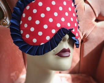 Cotton Sleepmask red cotton white spots Pinup Burlesque eyemask by Love Me Sugar - HH