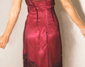 Vintage Sue Wong Nocturne Silk Dress Fuschia Pink Beaded & Embroidery Designer Couture