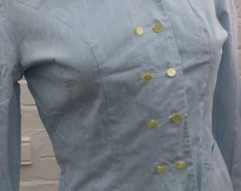 """Light Blue Cotton Double Breasted Jacket / Shirt / Blouse Vintage 1950s 34"""""""