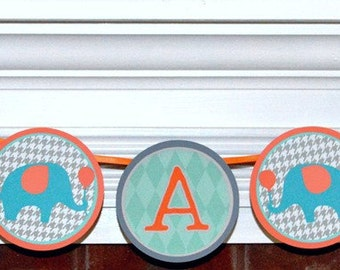 Elephant Baby Shower Banner Grey It's A Boy Banner Teal Elephant Banner Decoration Orange Elephant Baby Sprinkle Baby Boy Nursery Wall Art