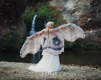 Moth Butterfly Fairy wedding cape cloak brown and cream muslin cotton wings costume adult bridal fantasy handfasting
