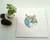 Embroidery art. Deer and spring leaves. Modern hand embroidered home decor. Original textile art.Stag design. Nature inspired. Green ombre