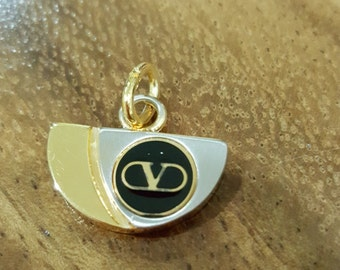 90s NOS Never Used VINTAGE VALENTINO Signature Logo Pendant - gold silver tone, black enamel with gold V embossed - necklace not included